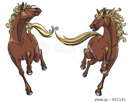 馬野生馬の躍動感のイラスト素材 952141 Pixta