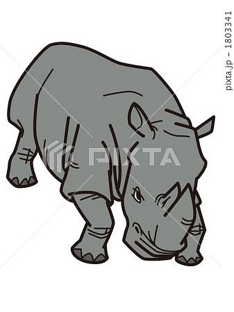 動物 陸の哺乳類 陸上動物 サイのイラスト素材 Pixta