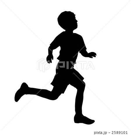 駈ける 子供 走る 横向きのイラスト素材 Pixta
