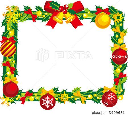 クリスマス 枠 リース ヒイラギのイラスト素材 Pixta