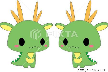 ペア 龍 竜 かわいいのイラスト素材 Pixta