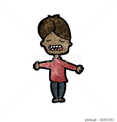 しかめっ面 マンガ アート 少年のイラスト素材 Pixta