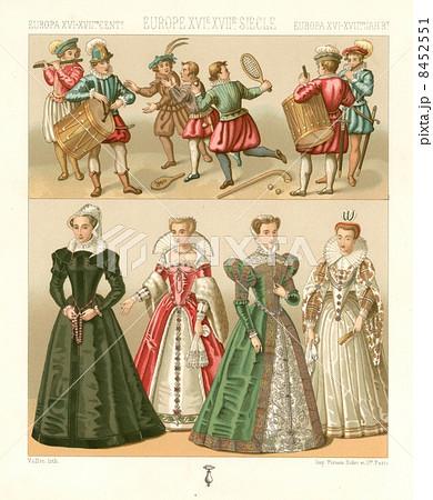 アンティーク・イラスト「16,17世紀ヨーロッパの衣装」
