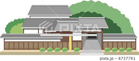 日本家屋 屋敷 家 建物のイラスト素材 Pixta