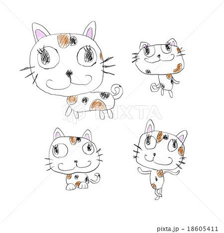 子供のいたずら書きイメージ:かわいい猫のイラスト手描き風素材のイラスト素材 [18605411] , PIXTA