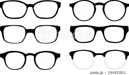 黒フチ眼鏡のイラスト素材 Pixta