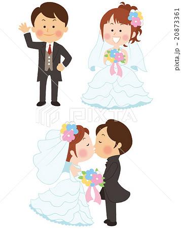 新郎新婦 ウェディングドレス ウェディング 結婚のイラスト素材
