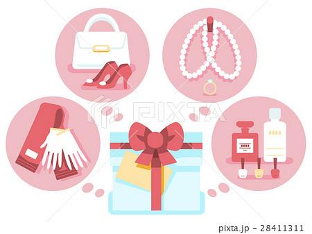 イラスト素材 プレゼント 女性