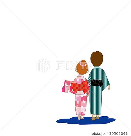 浴衣姿のカップル 後ろ姿のイラスト素材