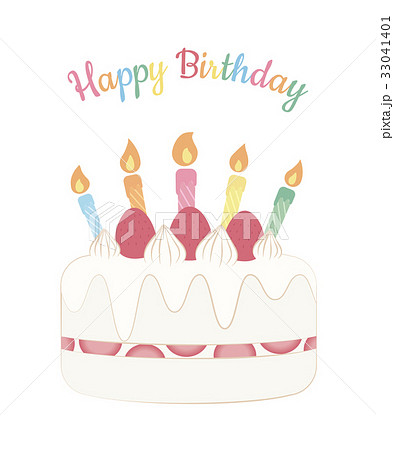 バースデーケーキ メッセージカード ろうそく 誕生日のイラスト素材