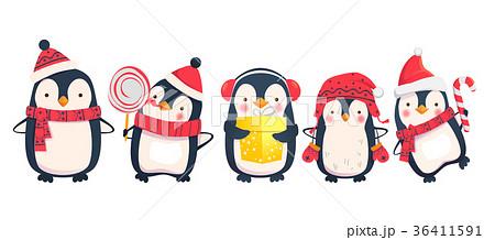 ペンギン かわいい イラスト アイコンの写真素材 Pixta