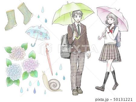 傘をさす人のイラスト素材 Pixta