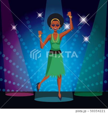 ディスコ ダンス 女性 ベクトルのイラスト素材 Pixta