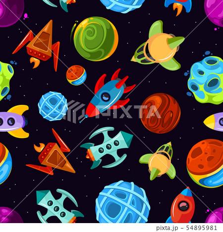 宇宙 惑星 宇宙船 かわいいのイラスト素材 , PIXTA