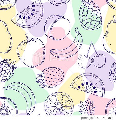 果物 フルーツ 果実 壁紙のイラスト素材